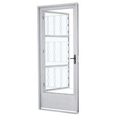 Porta Social Esquerda com Postigo E Grade Elo Prátika 217x87cm Branca - Sasazaki