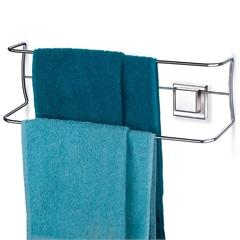Porta Toalhas Duplo com Ventosa Fixa Cromado - Arthi