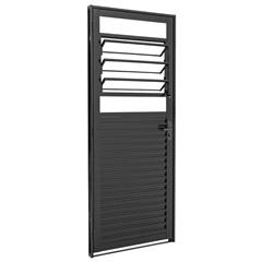 Porta Veneziana Direita de Abrir com Básculas 217x87cm Preta - Sasazaki
