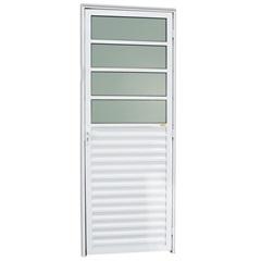 Porta Veneziana Esquerda em Alumínio com Vidro Boreal L-25 210x80cm Branco Brilhante - Brimak
