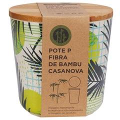 Pote em Fibra de Bambu 10x10cm Bege E Verde - Casanova