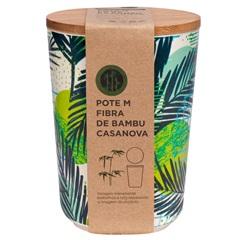 Pote em Fibra de Bambu 15x10cm Bege E Verde - Casanova