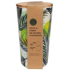 Pote em Fibra de Bambu 19x10cm Bege E Verde - Casanova