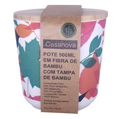 Pote em Fibra de Bambu com Tampa 500ml Colorido - Casanova