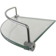 Prateleira em Vidro com Haste Cromada 20x20cm Transparente - Rack System