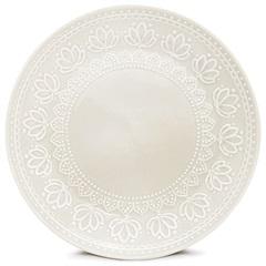 Prato de Sobremesa Cerâmica Redondo Relieve Branco - Corona