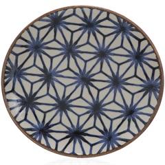 Prato de Sobremesa em Cerâmica Asanoha Colors 20cm Azul - Casa Etna