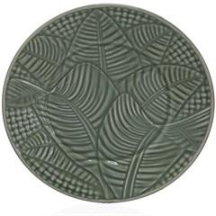 Prato de Sobremesa em Cerâmica Leaves 20cm Verde - Casa Etna