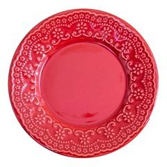 Prato de Sobremesa em Cerâmica Madeleine 20cm Vermelho - Casa Etna