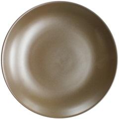 Prato de Sobremesa em Cerâmica Redondo 22cm Marrom - Importado