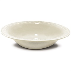Prato Fundo de Cerâmica Redondo Relieve Branco - Corona