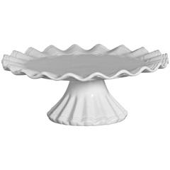 Prato para Bolo com Pé em Cerâmica 19x42cm Branco - Scalla