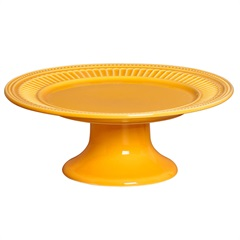 Prato para Bolo com Pé em Cerâmica Poppy 13x31cm Amarelo - Scalla