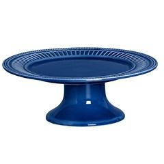 Prato para Bolo com Pé em Cerâmica Poppy 13x31cm Azul - Scalla