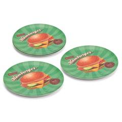 Prato para Hambúrguer Verde com 4 Peças - Mek