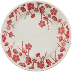 Prato para Sobremesa Donna Jardim Oriental 18cm Branco E Vermelho - Biona
