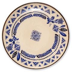 Prato Raso em Cerâmica Navajo 27cm Azul