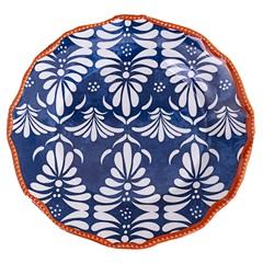 Prato Raso em Melamina Beaded 22cm Azul E Laranja - Casa Etna