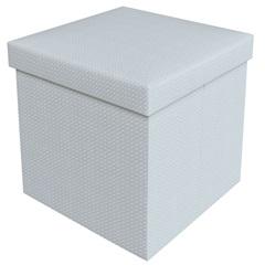 Puff Baú Desmontável em Mdf Trança 40x40cm Branco - Puff Prime