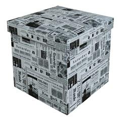 Puff Baú Desmontável Quadrado Newspaper 38x38cm Preto E Branco - Bhela Decor