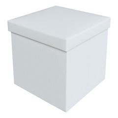 Puff Baú Desmontável Quadrado Trança 38x38cm Branco - Bhela Decor