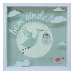 Quadro com Vidro Porta Mensagens Celebração Bem-Vindo 27x27cm Branco - Kapos