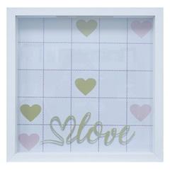 Quadro com Vidro Porta Mensagens Celebração Love 27x27cm Branco - Kapos