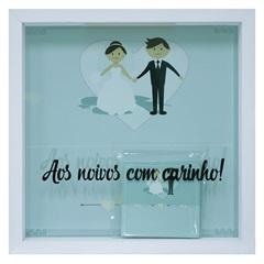 Quadro com Vidro Porta Mensagens Celebração Noivos 27x27cm Branco - Kapos