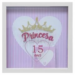Quadro com Vidro Porta Mensagens Celebração Princesa 15 Anos 27x27cm Branco - Kapos