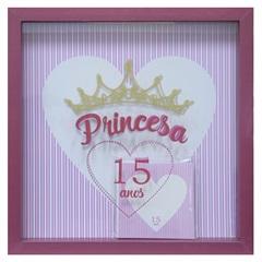Quadro com Vidro Porta Mensagens Celebração Princesa 15 Anos 27x27cm Vermelho - Kapos