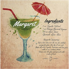 Quadro de Madeira Cocktail Margarita 40x40cm
