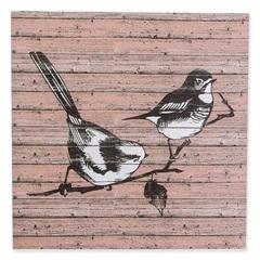 Quadro Decorativo Pássaros 50x50cm Preto E Rosa - Casa Etna