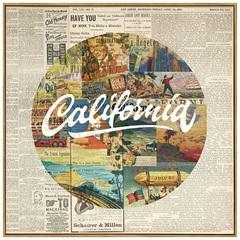 Quadro em Canvas Colagem Califórnia 70cm - Casa Etna