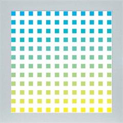 Quadro em Madeira com Vidro Abstrato Quadrados 33x33cm Azul E Amarelo