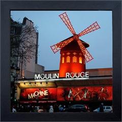 Quadro em Madeira com Vidro Moulin Rouge 27x27cm - Kapos