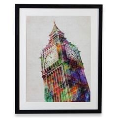 Quadro em Madeira Gravura Big Ben 70x55cm Colorido - Casa Etna