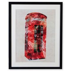 Quadro em Madeira Gravura London Phone 70x55cm Colorido - Casa Etna
