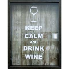 Quadro Porta Rolha em Madeira Keep Calm And Drink Wine 32x42cm Imbuia - Kapos