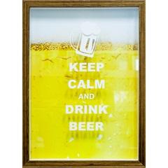 Quadro Porta Tampa em Madeira Keep Calm And Drink Beer 27x37cm Amarelo - Kapos