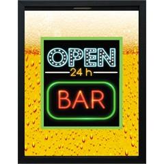Quadro Porta Tampa em Madeira Open Bar 24 Horas 28x38cm Amarelo - Kapos