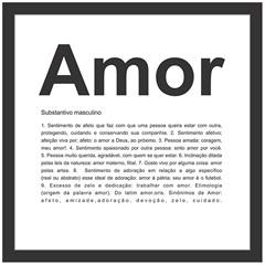 Quadro sem Vidro Amor 27x27cm Preto - Kapos