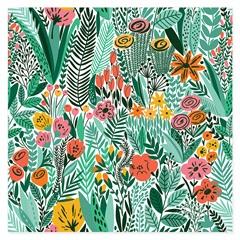 Quadro Telado Abstrato Flores 40cm Verde E Amarelo - Casanova