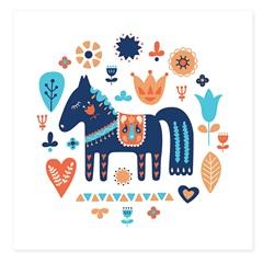 Quadro Telado Cavalo 40cm Azul E Laranja - Casanova