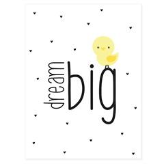 Quadro Telado Dream Big 40x30cm Branco E Amarelo - Casanova