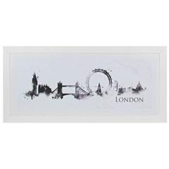 Quadro Telado em Mdf Cidade Londres 36x76cm Branco - Euroquadros