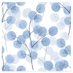 Quadro Telado Folhas Azuis 40cm Azul E Branco - Casanova