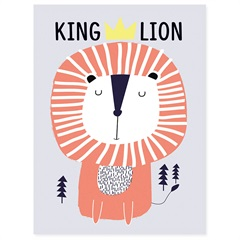 Quadro Telado King Lion 40x30cm Rosa E Azul - Casanova