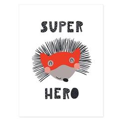 Quadro Telado Super Hero Porco-Espinho 40x30cm Vermelho E Cinza - Casanova