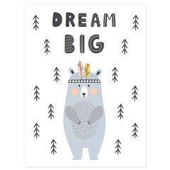 Quadro Telado Urso Dream Big 40x30cm - Casanova