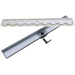 Ralo Retangular em Alumínio Sifonado com Saída Inferior Inteligente7x70cm Cinza - Costa Navarro